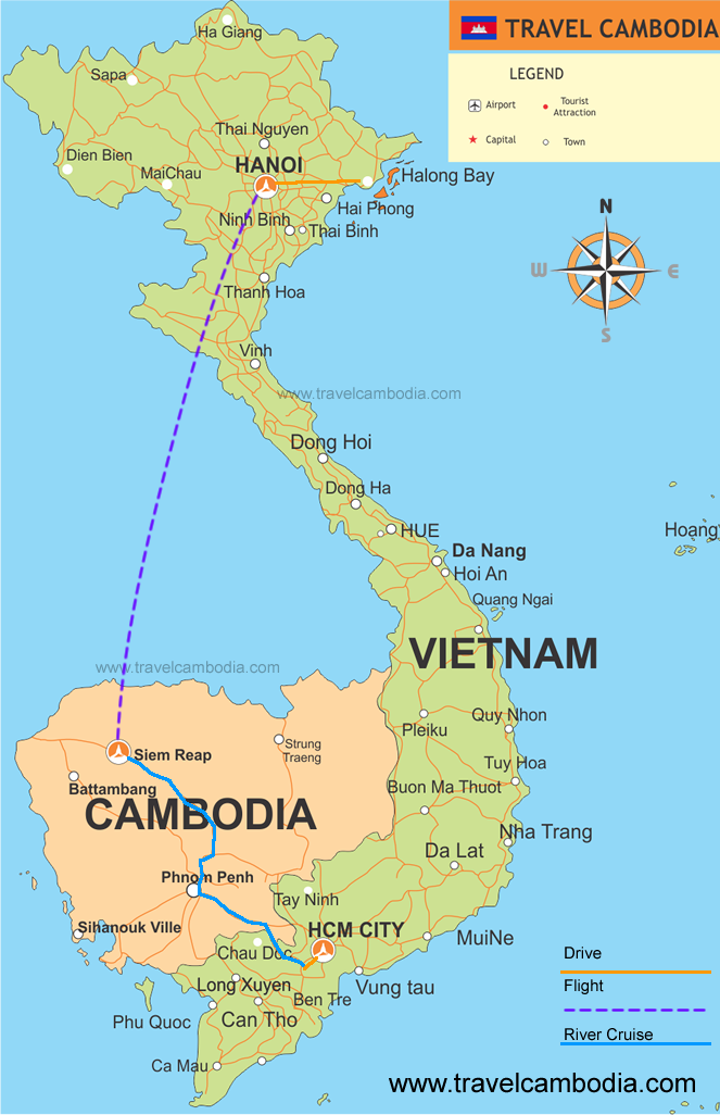 Map Luxury Vietnam Cambodia